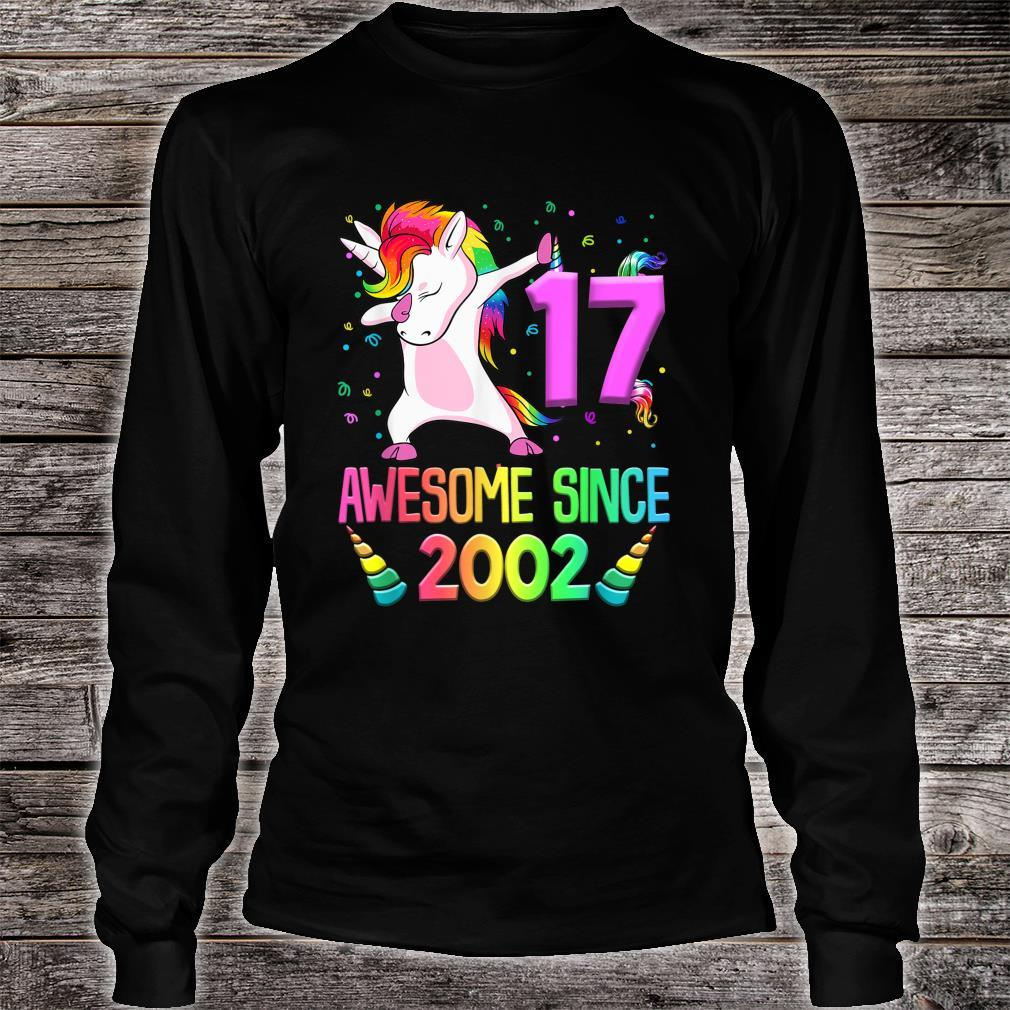 17th Birthday Unicorn Awesome Since 2002 Shirt long sleeved