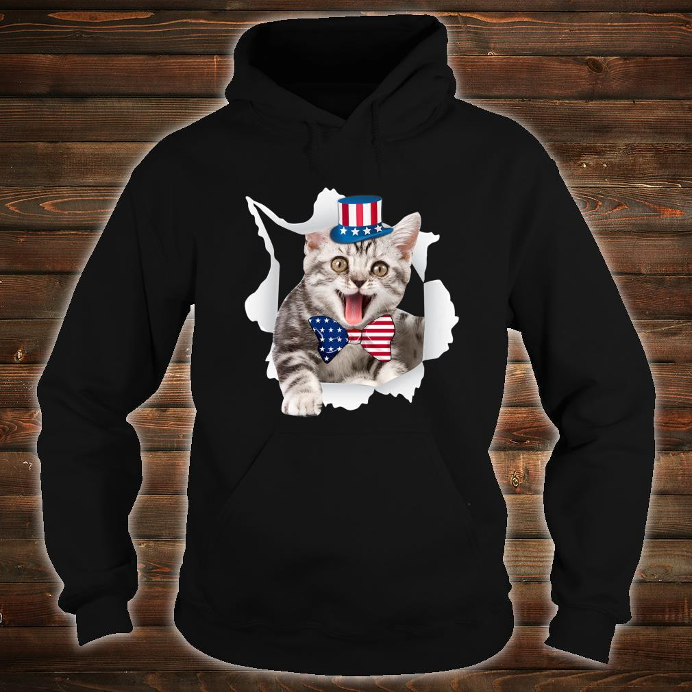 Cat American Flag Shirt 4th Of July Independence Day Shirt hoodie