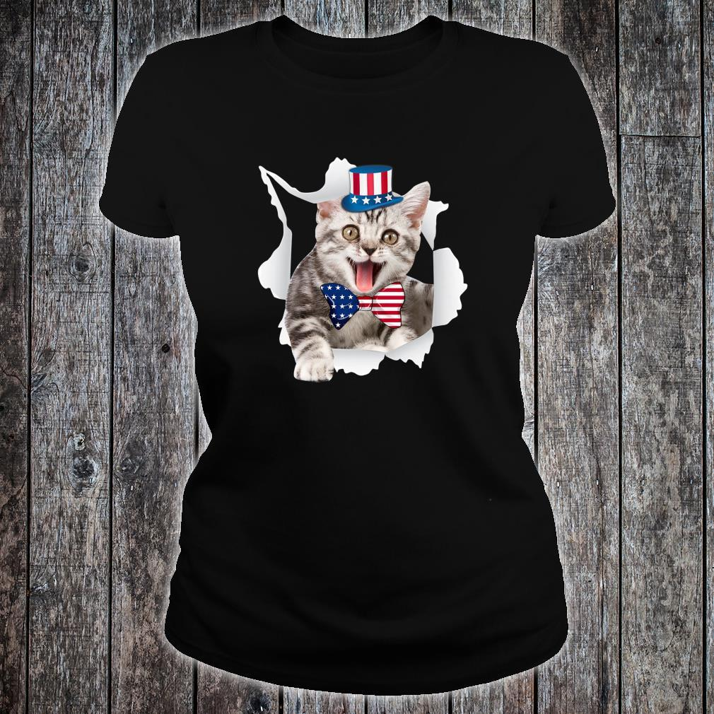 Cat American Flag Shirt 4th Of July Independence Day Shirt ladies tee