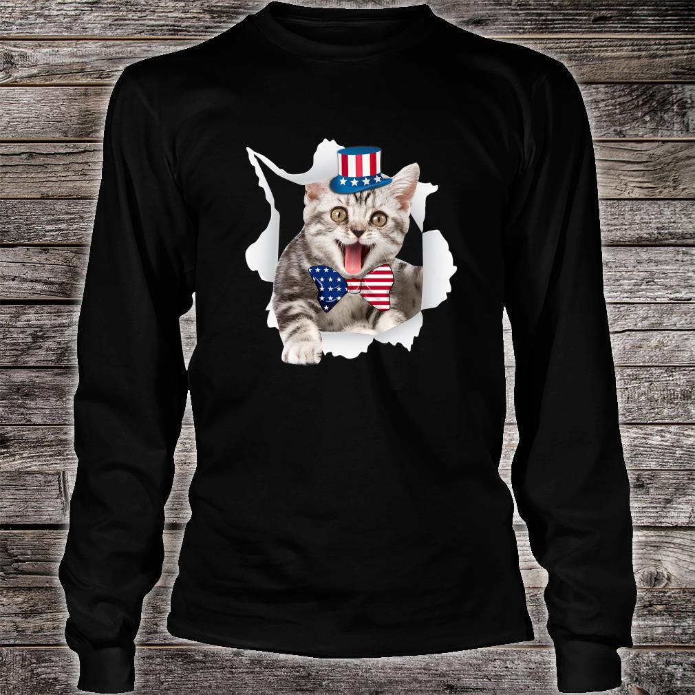 Cat American Flag Shirt 4th Of July Independence Day Shirt long sleeved