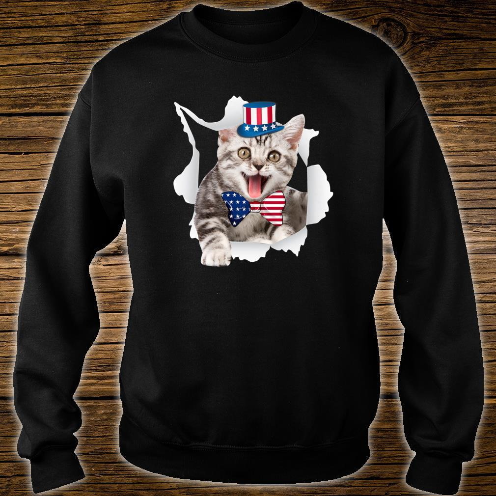Cat American Flag Shirt 4th Of July Independence Day Shirt sweater