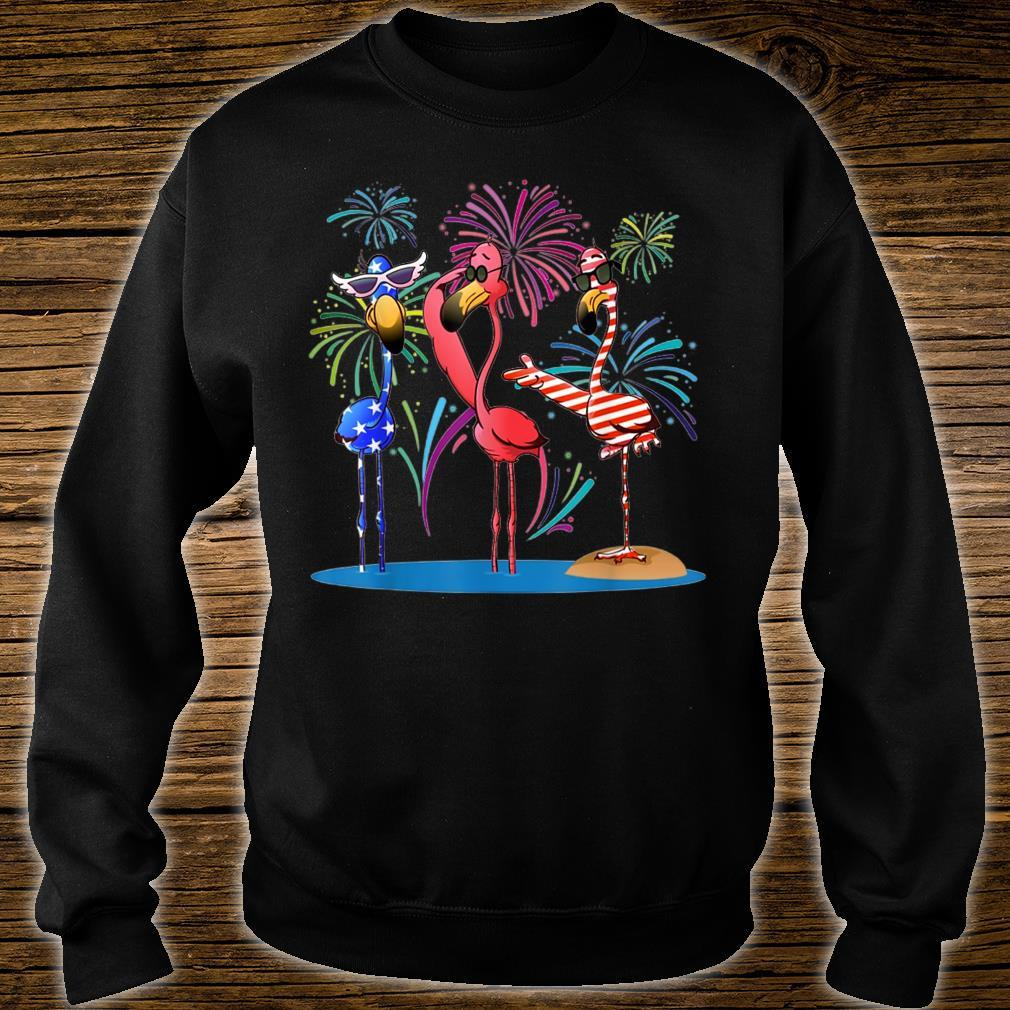 Flamingo American flag happy independence day shirt sweater