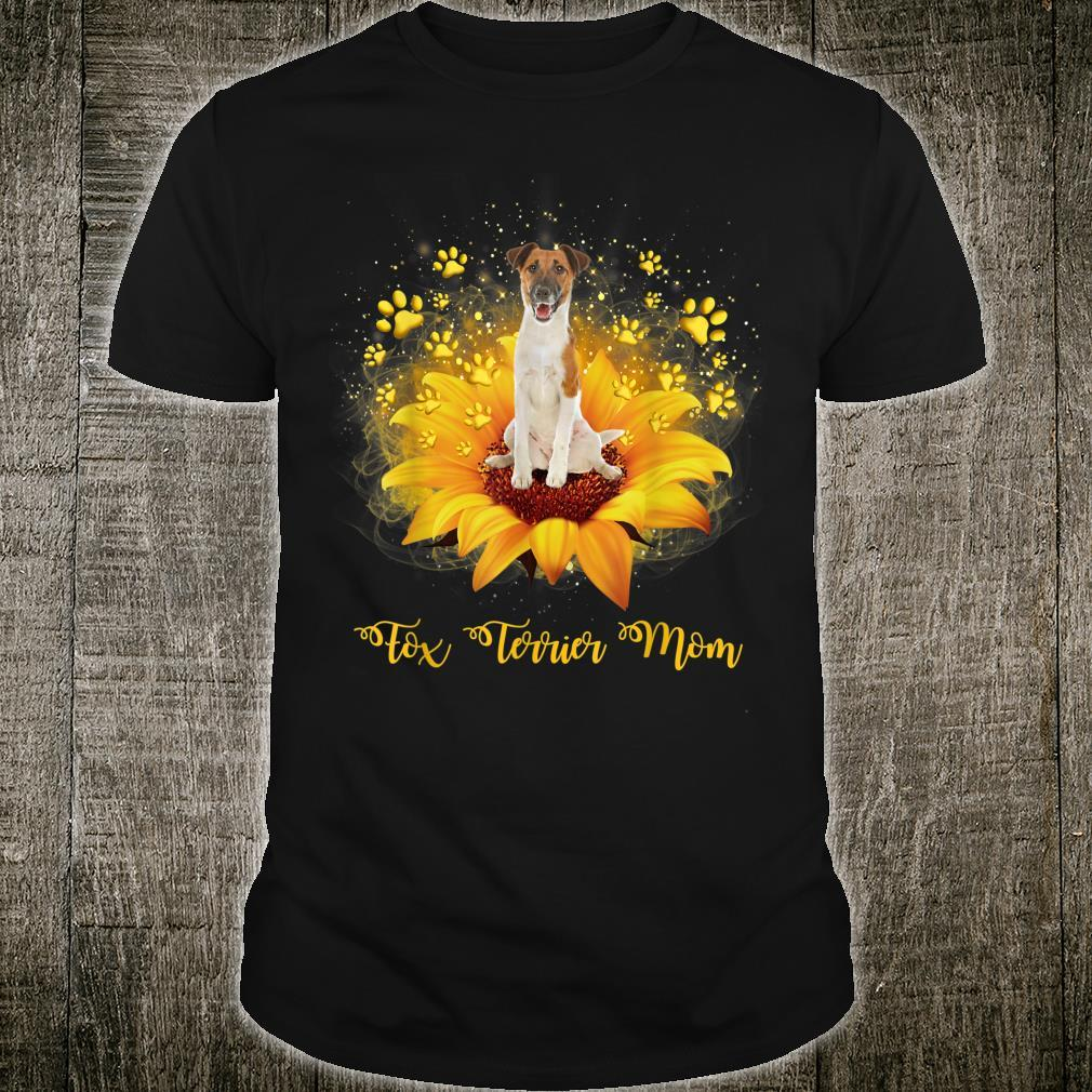 Fox Terrier Mom Sunflower With Dog Paw Mother's Day Shirt