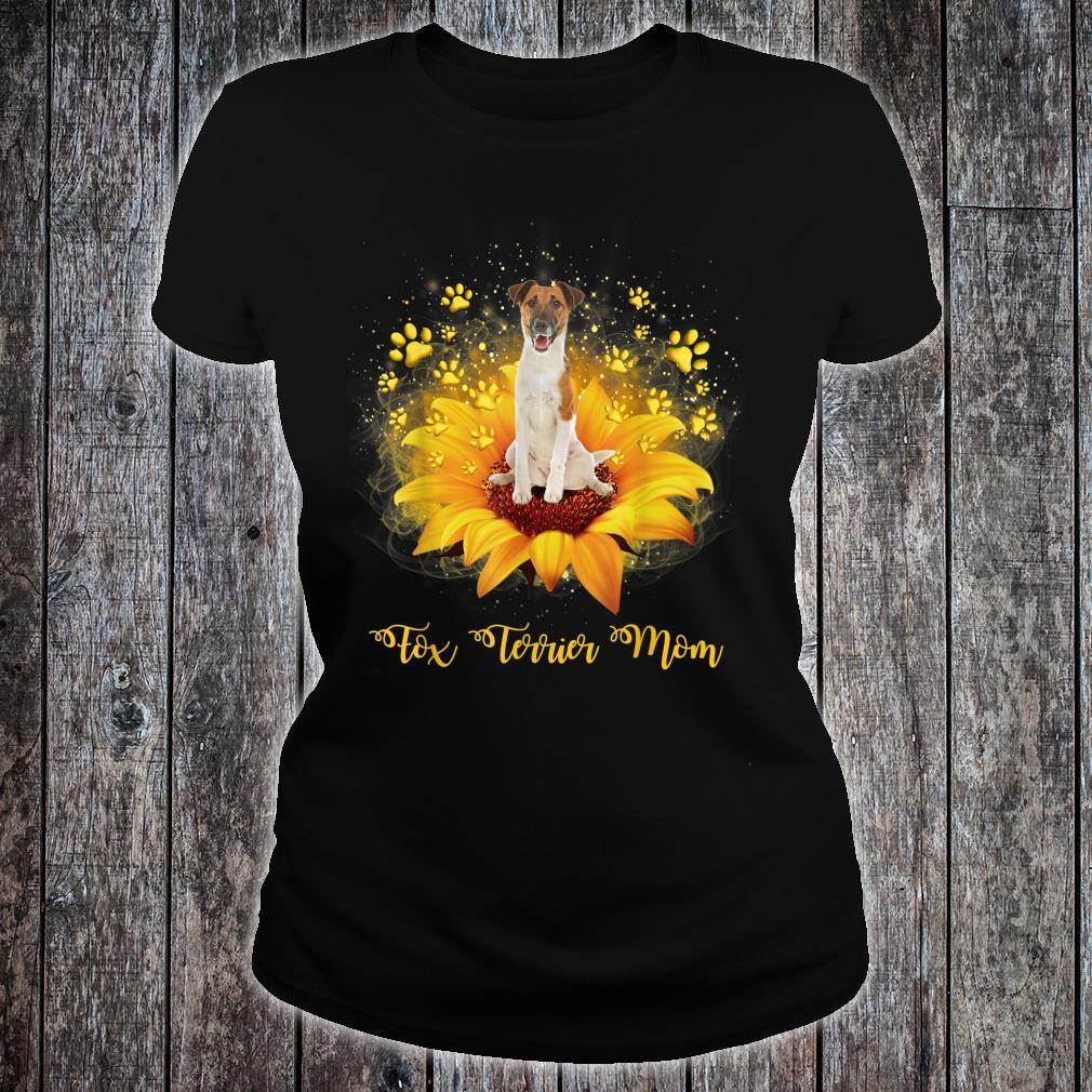 Fox Terrier Mom Sunflower With Dog Paw Mother's Day Shirt ladies tee