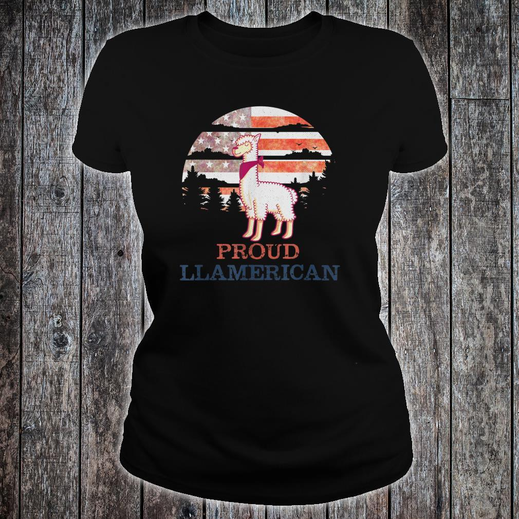 Llama 4th of July Independence Day Proud Llamerican Shirt ladies tee