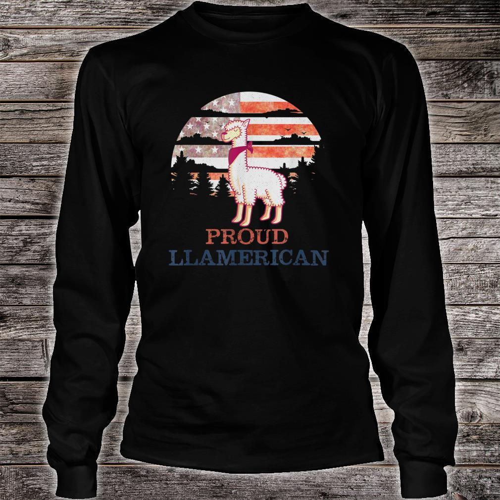 Llama 4th of July Independence Day Proud Llamerican Shirt long sleeved