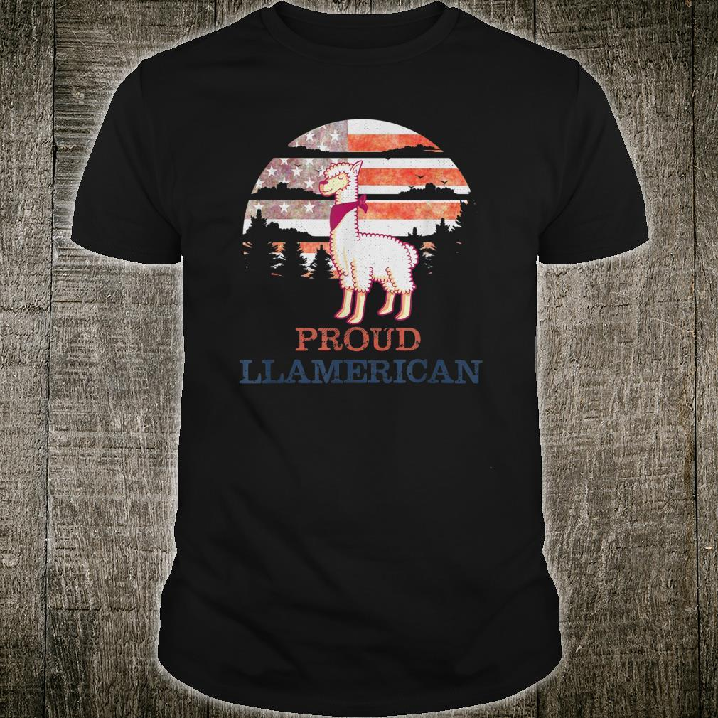 Llama 4th of July Independence Day Proud Llamerican Shirt