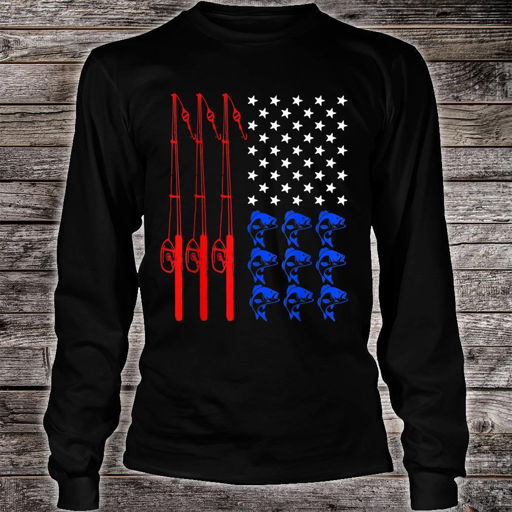 Pride American Flag Fishing Independence Day July 4th Shirt long sleeved