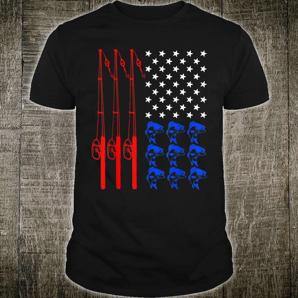 Pride American Flag Fishing Independence Day July 4th Shirt