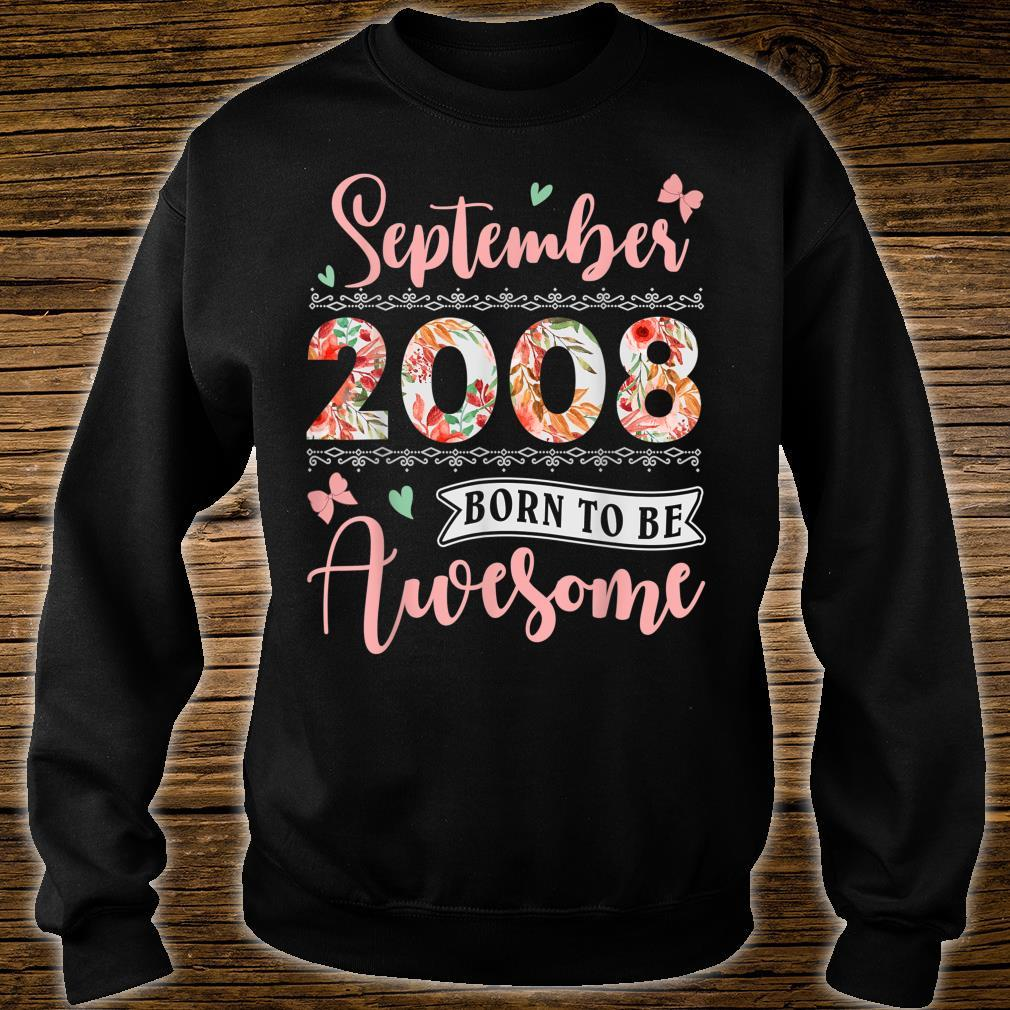 September 2008 11 Years Old Birthday Floral for Girls Shirt sweater